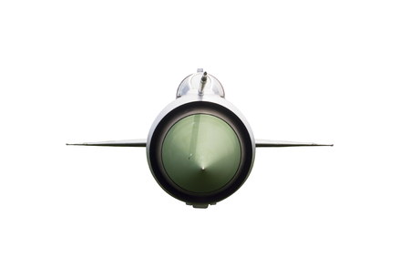 fighter plane: Fron View of Fighter Plane Isolated on White Background