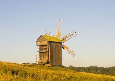 Old Traditional Wooded Windmill in Countryside