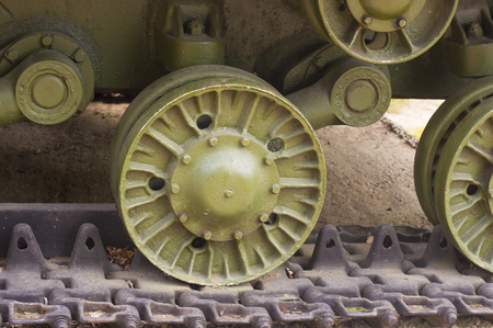 armory: Detail of WWII Military Tank Caterpillar Close up