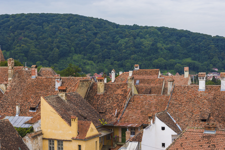 General view of Sighisoara Town on background of landscape