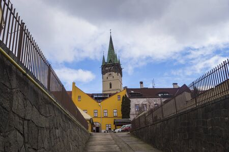 Long Shot of St Nicolaus Church in old town of Presov, Slovakia