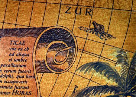 colonization: The ancient explorators maps, used to discover the remote places in the earth
