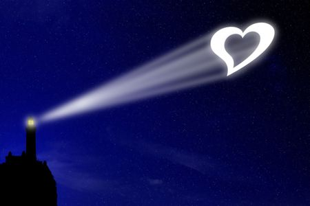 The love lighthouse projects a heart signal in the night deep blue sky, a sign for all lovers to celebrate their feeling Stock Photo