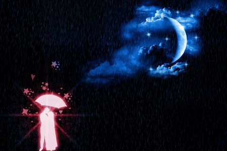 Two young lovers under an umbrella and by the moonlight photo