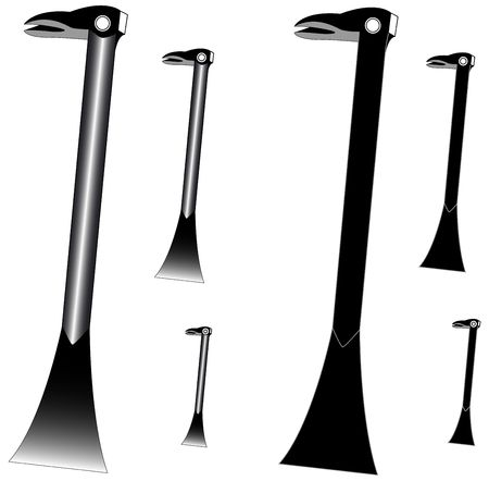 ironware: Vector prybar in 3d and flat version Stock Photo