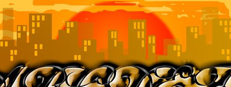 graffito: City silhouette background with graffito writings Stock Photo
