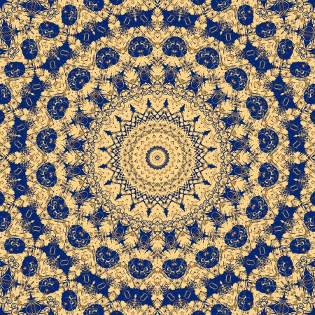 Blue and yellow coloured geometrical fantasy reminds a Maya or Aztec calendar artefact