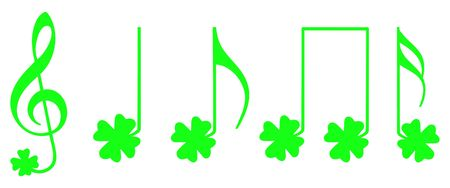 fourleaved: Green notes with the shape of the traditional irish shamrock symbol Stock Photo