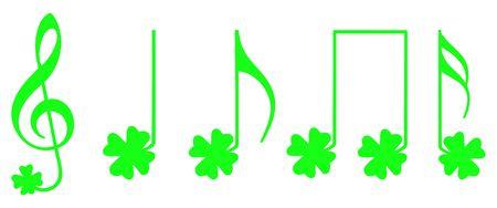 pentagramma musicale: Verde prende atto con la forma della tradizionale irlandese simbolo shamrock