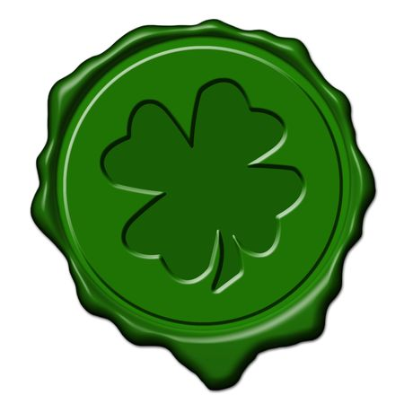 fourleaved: Green saint patricks shamrock wax seal used to sign and close letters