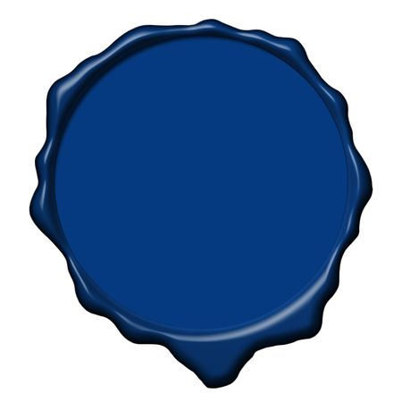 Empty blue wax seal used to sign and close the royal letters