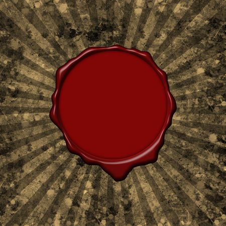 Red wax seal on a grunge parchment background with sun rays