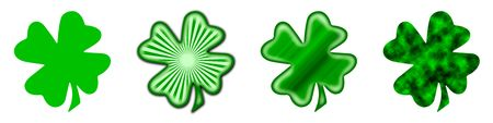 fourleaved: 4 different shamrocks, the typical Saint Patricks day celebration clovers Stock Photo
