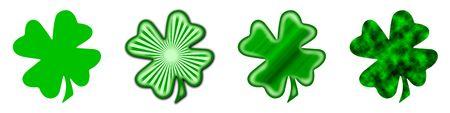 fourleaved: 4 different shamrocks, the typical Saint Patricks day celebration clovers Stock Photo