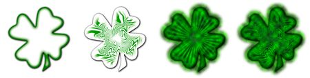 4 different shamrocks, the typical Saint Patrick's day celebration clovers Stock Photo - 2678076