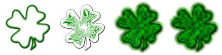 4 different shamrocks, the typical Saint Patrick's day celebration clovers