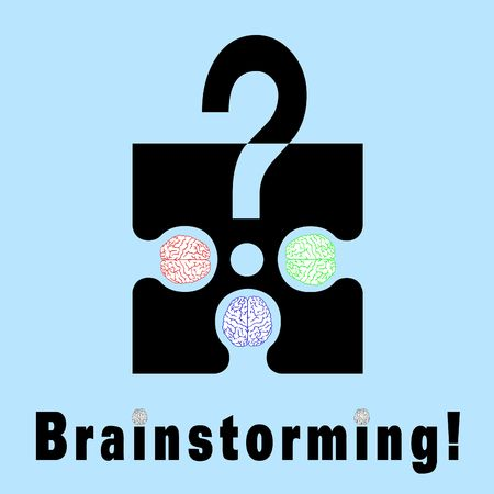 Conceptual brainstorming symbol composed by a puzzle piece and three human brains. They struggle to find the solution of their problems. The dots on I litters are two brains Stock Photo