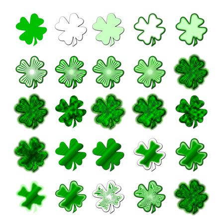 fourleaved: 25 different shamrocks, the typical Saint Patricks day celebration clovers Stock Photo