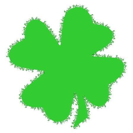 fourleaved: Saint Patricks writing around the edges of a shamrock, the typical Saint Patricks day celebration clovers