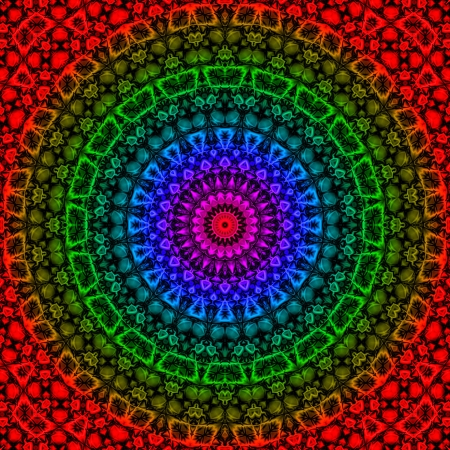 colors: Coloured geometrical fantasy reminds a Maya or Aztec calendar artefact Stock Photo