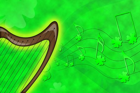 Musical harp fantasy for Saint Patrick's day celebration Stock Photo - 2677912