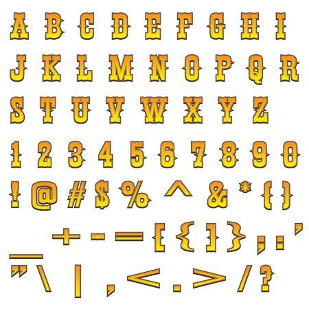 Typical carved wood western alphabet Standard-Bild