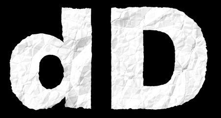 crumple: Alphabet on crumple white paper Stock Photo