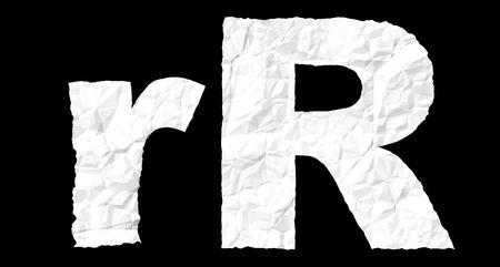 Alphabet on crumple white paper Stock Photo