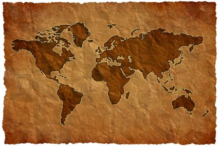 World map on crumple sheet background Standard-Bild