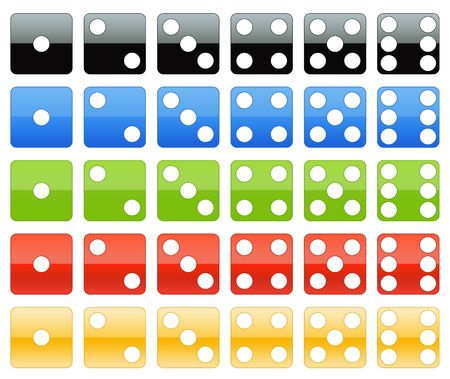 Dice in several colors with glossy style Stock Photo
