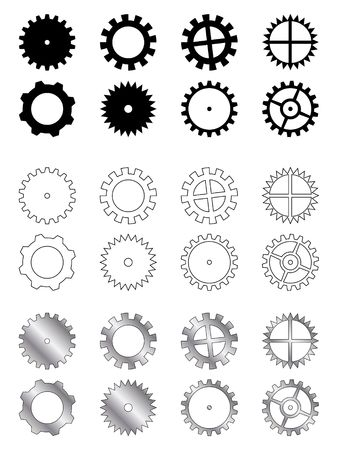 gearings: Gears of several types, shapes and colours in a industry related collection