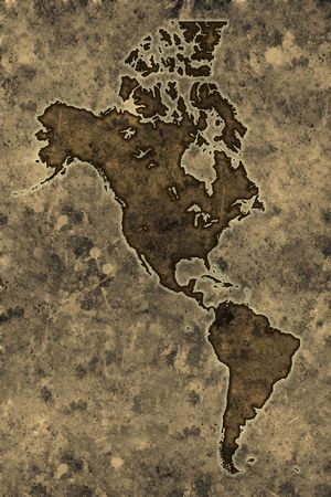 Americas map on an ancient grunge parchment sheet background photo