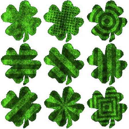 fourleaved: Saint Patricks shamrock - pack 2 Stock Photo