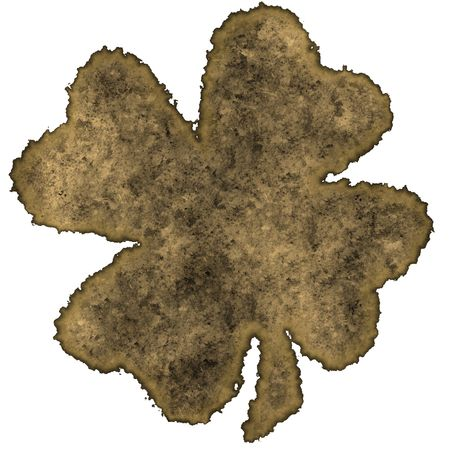 Burnt parchment with the shape of the typical Saint Patrick's day celebration clovers Stock Photo - 2806536
