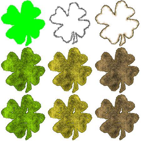 fourleaved: Saint Patricks shamrock - pack 3 Stock Photo