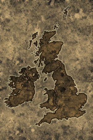 Great britain map on an ancient grunge parchment sheet background