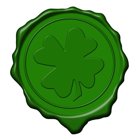 Green saint patrick's shamrock wax seal used to sign and close letters