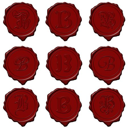 Complete alphabet letters on red wax seals Stock Photo