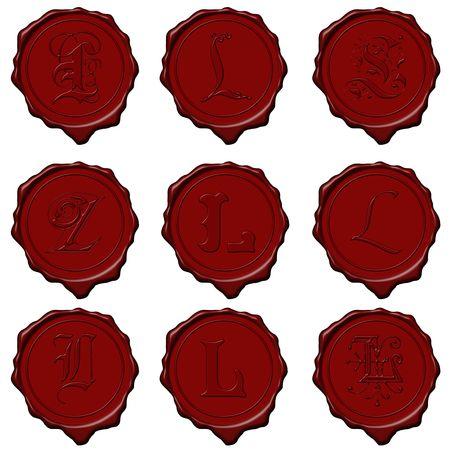 Complete alphabet letters on red wax seals Standard-Bild