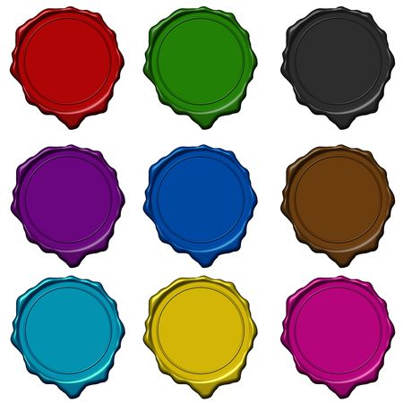 Colored wax seals used to sign and close letters Stock Photo