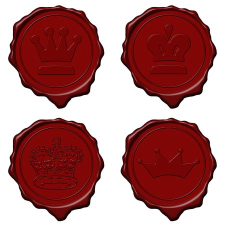 Red royal crown wax seal collection used to sign and close letters photo