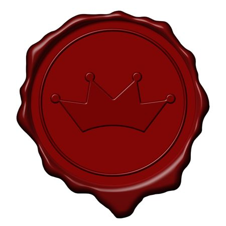 seal of approval: Red royal crown wax seal used to sign and close letters
