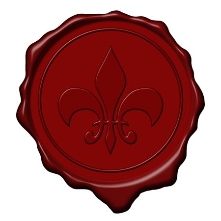 wax stamp: Red royal lily sign wax seal used to sign and close letters Stock Photo