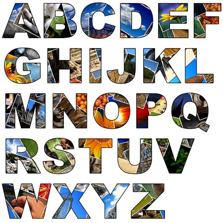 Complete alphabet made of collage of photos photo
