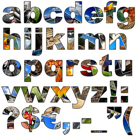 grammar: Complete alphabet made of collage of photos