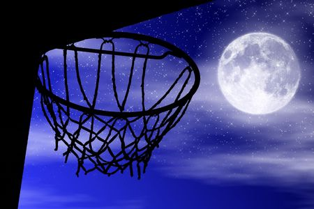Basketball sport basket black silhouette with moon