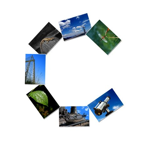 Alphabet letter made of collage photos photo