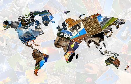 World map made of several photos photo