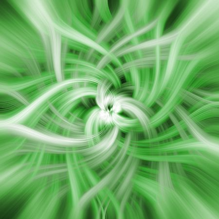 converging: Green abstract spiral of colours and shapes converging to the center. A symbol of caos or immense movement Stock Photo