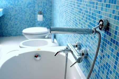 Blue bathroom closeup photo